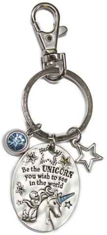 4 Inch Zinc Unicorn Key Chain - Be The Unicorn You Wish To See In The World