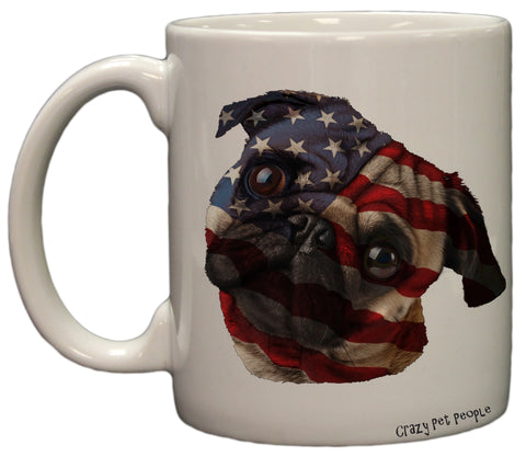Dog Lovers Patriotic Pug 11 Ounce Coffee Mug