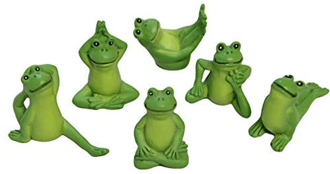 Ganz Collectible Fairy Garden Set of Six Yoga Frogs in Various Poses