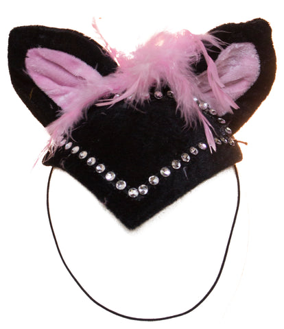 Halloween Costume Accessory Cat Headpiece with Feathers and Rhinestones
