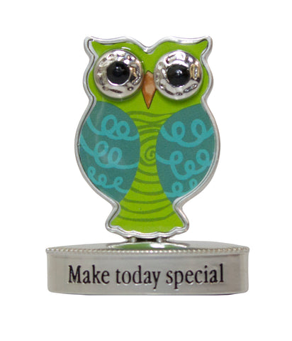 2 Inch Happy Little Owl Figurine W/ Colorful Enamel - Make Today Special