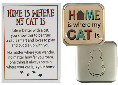 Cat Lovers Home Is Where The Cat Is Pocket Charm w/ Story Card