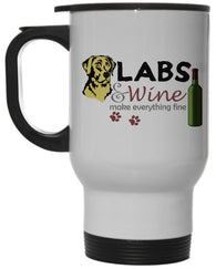 Yellow Labs & Wine Make Everything Fine 12 Oz Steel Hot/Cold Travel Mug