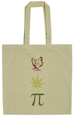 Chicken Pot Pi Rasta Funny Stoner 15 Inch Canvas Tote Bag