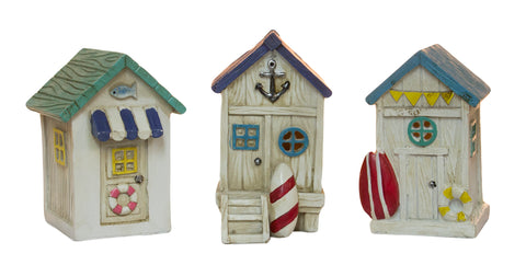 4 Inch Polyresin Light Up Beach House Figurine (SetOf3)