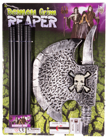 Costume Prop - 50 Inch Long Plastic Realistic Looking Reaper Axe With Skull