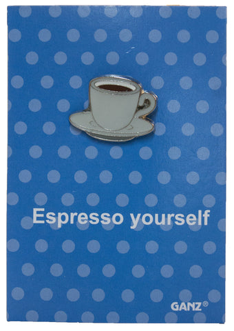 Pin It! Lapel Pin Hat Pin Tie Tack with Colorful Enamel and Funny Pun- Espresso