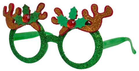 Christmas Bling - Santa's Holiday Frames Lensless Glasses - Antlers