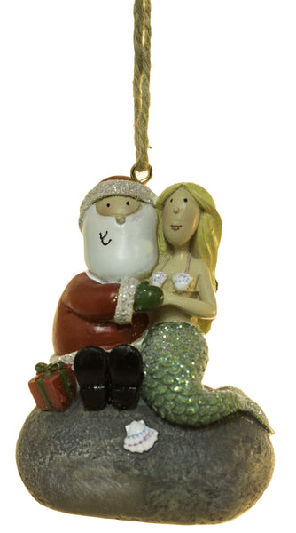 2.5 Inch Santa Sitting With A Mermaid Christmas Ornament