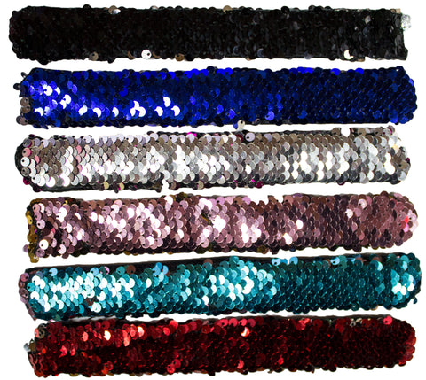 Party Pack! Set of 6 Color Changing Sequin Slap Bracelets