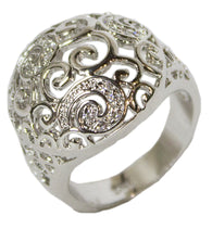 Women's Rhodium Plated Dress Ring Vintage Style Filigree 109