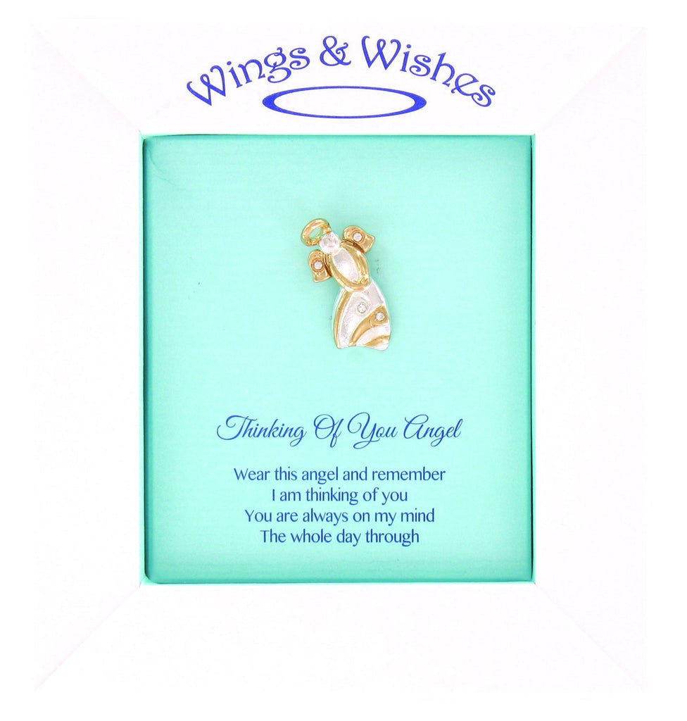 Wings and Wishes Thinking Of You Angel Two Tone 1 Inch Tac Pin With Crystals