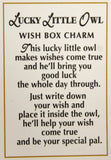 Lucky Little Owl Wish Box Charm With Story Card!