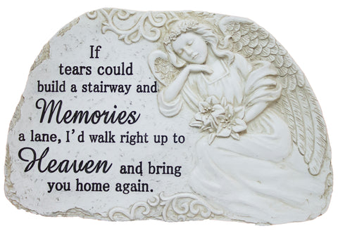 "11 Inch Wide Polystone Merorial Stone/ Plaque ""If tears could build…"""