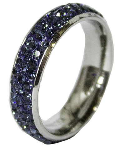 Women's Rhodium Plated Dress Ring Montana Steel CZ Band 049