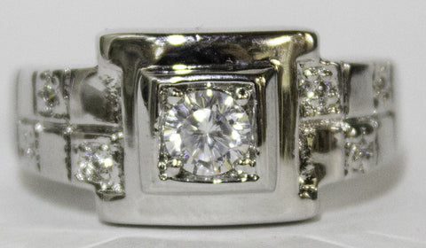 Men's Rhodium Plated Dress Ring Brilliant Cut CZ Square Setting 076