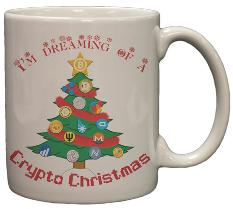 Bitcoin I'm Dreaming Of A Crypto Christmas 11 Ounce Cermaic Coffee Mug