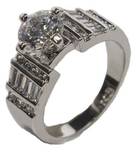 Women's Rhodium Plated Dress Ring Round Cut CZ 020
