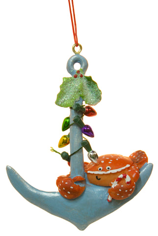 Nautical Christmas Decoration - Crab on Anchor w/ Faux Lights