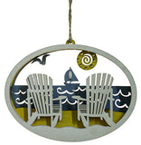 4.75 Inch Beach Scene with Chairs Laser Cut Wood Ornament