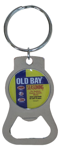 Old Bay Can Circle Metal Bottle Opener Key Chain