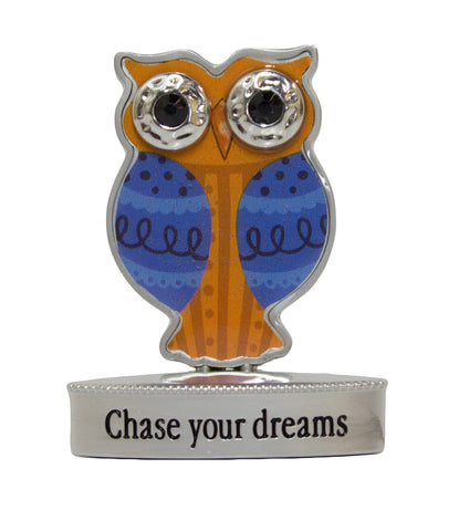 2 Inch Happy Little Owl Figurine W/ Colorful Enamel - Chase Your Dreams