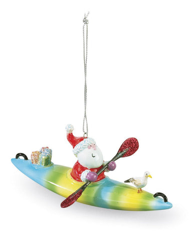 Santa on a Kayak Christmas Ornament