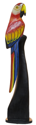 Hand Carved and Painted 19 Inch Tall Wooden Parrot Statue