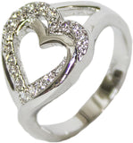 Women's Rhodium Plated Dress Ring CZ Heart Band 107
