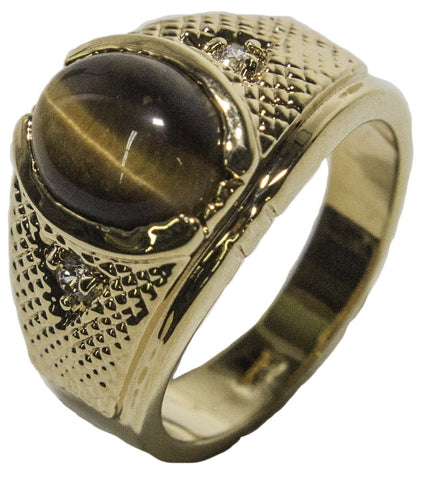 Men's 18 KT Gold Plated Dress Ring with Genuine Tiger Eye 028