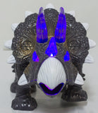 7.5 Inch Wind Up Walking Triceratops with Lights and Sounds (Grey)