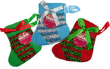 Christmas Stocking Stuffer - Set Of 3 Felt Stocking Shaped Gift Card Holders