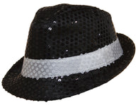 Costume Accessory - Black Sequin Fedora Hat With White Band