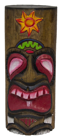 8 Inch Tall Hand Carved Tiki Wood Totem Pole (Sun)