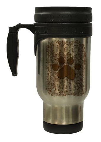 Dog Dad with Paw Print 12 Oz Stainless Steel Hot/ Cold Travel Mug