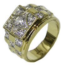 Men's18 Kt Gold Plated Dress Ring Square CZ Pattern 074