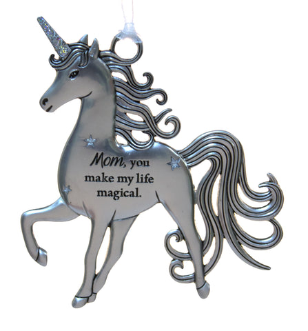 3 Inch Inspirational Zinc Unicorn Ornament - Mom