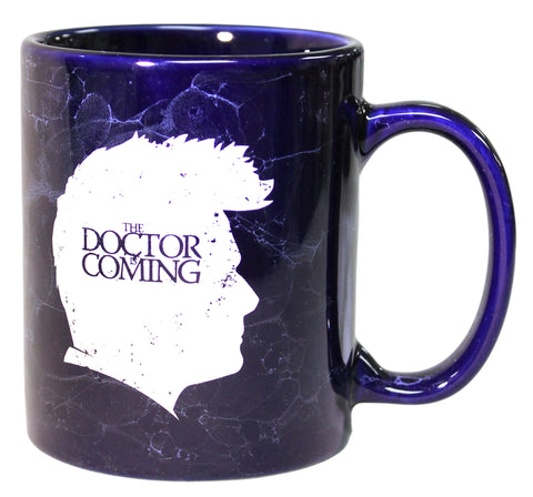 The Doctor is Coming Parody 12 oz Marbled Blue Ceramic Coffee Mug
