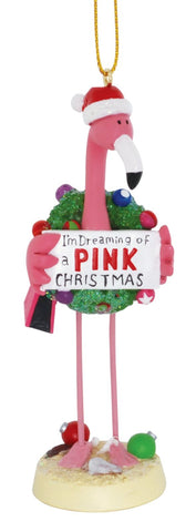 Pink Flamingo in Santa Hat I'm Dreaming of a Pink Christmas Holiday Ornament