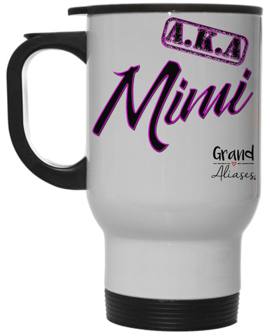 "Grand Aliases Series Grandmother ""A.K.A. Mimi"" 12 Ounce Hot/ Cold White Travel Coffee Mug"