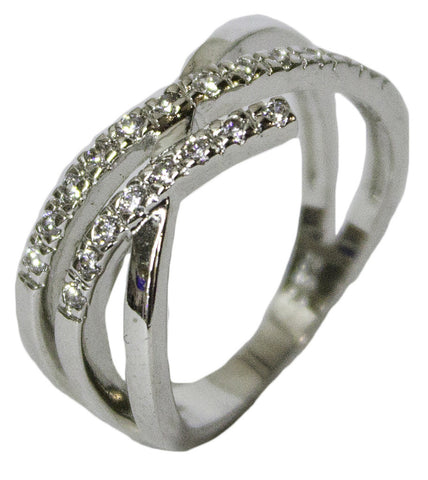 Women's Rhodium Plated Dress Ring Bypass Band with CZ 058
