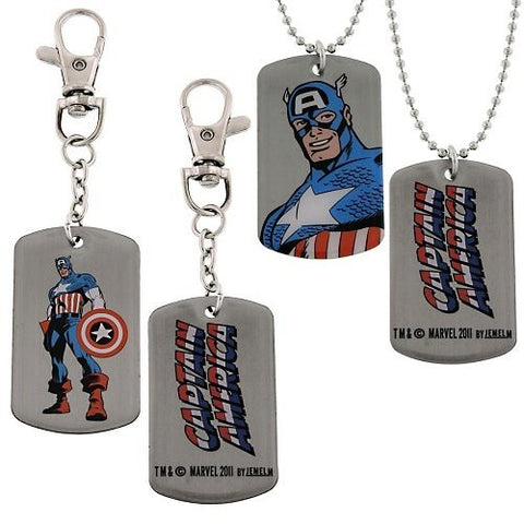 Marvel Comics Captain America Box Set 1 Dog Tag and 1 Key Ring Brand New JEWELM