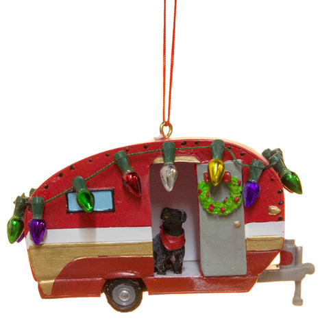 Camper With Dog and Christmas Lights Christmas/ Everyday Ornament