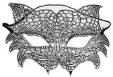 Costume Accessory - Lace Feline Cat Mask w/ Elastic Band  (Silver)