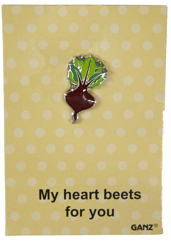 Lapel Pin Hat Pin Tie Tack with Colorful Enamel and Funny Pun- Beet