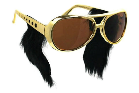Elvis Gold Frame Sunglasses with Sideburns