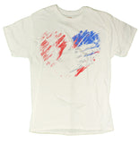 Men's 4th Of July Patriotic Hand Over USA Flag Heart Distressed T-Shirt