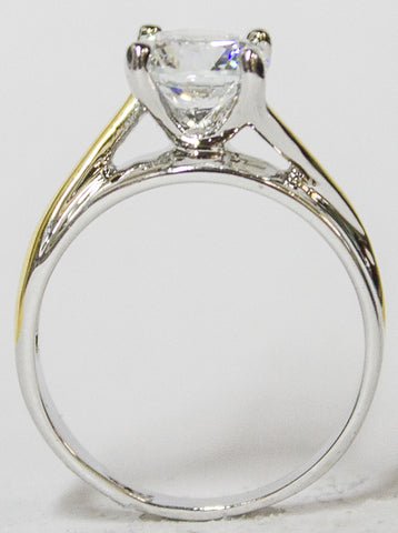 Women's Rhodium Plated Dress Ring Two Tone Round Cut Solitaire CZ 099