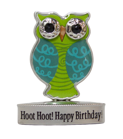 2 Inch Happy Little Owl Figurine W/ Colorful Enamel - Hoot! Happy Birthday!