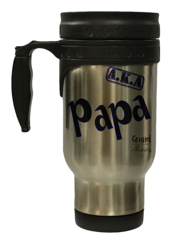 "Grand Aliases Series Grandfather ""A.K.A. Papa"" 12 Ounce Hot/ Cold Travel Coffee Mug"